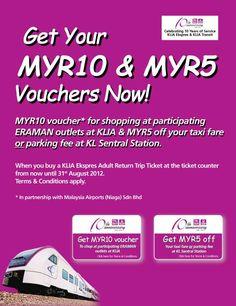 KLIA Ekspres Free RM10 & RM5 Vouchers (Campaign period: 1 June 2012 – 31 August 2012 )