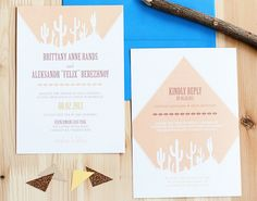Brittany + Aleksandr's Southwestern Desert Cactus Wedding Invitations - Oh So Beautiful Paper