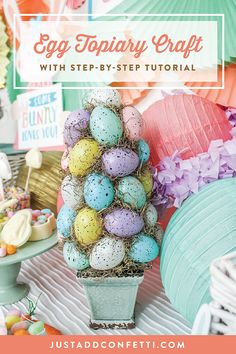This DIY Easter Topiary is such a fun Easter craft. I've included a full step-by-step tutorial. With Dollar Store Easter eggs and a few other simple items you can craft this beautiful piece of Easter decor for your home or to give as a gift! Such an easy way to dress up your mantle or create a fun Easter centerpiece! #easterdecor #eastercraft #eastertree #eastertopiary
