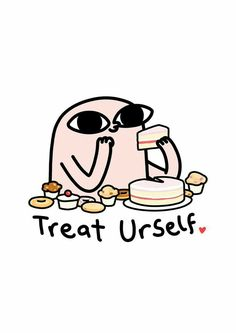 Treat Yourself - by Ketnipz Funny Iphone Wallpaper, Mood Wallpaper, Wallpaper Quotes, Wallpaper Backgrounds, Cute Memes, Funny Quotes, Funny Memes, Cute Comics, Funny Comics