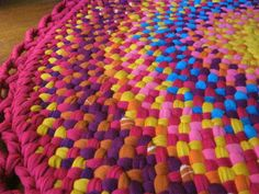 Handmade Braided Area Rug in fushia and sunshine yellow from upcycled cotton