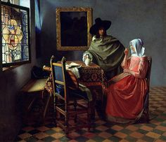 Jan Vermeer (Johannes Vermeer), Delft 1632 - 1675 Herr und Dame beim Wein / The Glass of Wine Gemäldegalerie Berlin Johannes Vermeer, Google Art Project, Glass Photo Prints, Wein Poster, Vermeer Paintings, Oil Paintings, Dutch Golden Age, Dutch Painters, Dutch Artists