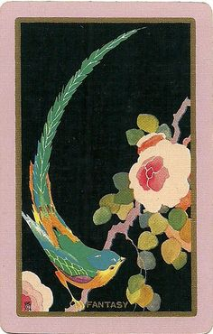vintage playing card with bird and floral image Art Deco Illustration, Illustrations, Vintage Playing Cards, Vintage Cards, Street Art, Arte Floral, Silk Painting, Bird Art, Vintage Posters