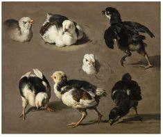 Melchior de Hondecoeter, Study for chicks, 17th century. Oil on canvas. Via Lempertz