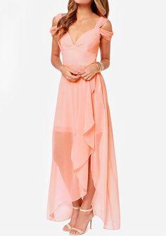 Pink Plain Short Sleeve Maxi Dress