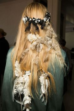 Rodarte Spring 2017 - NYFW - Odile Gilbert accessorised models' hair with pieces of leftover lace and tulle from the runway collection.