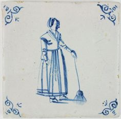 Antique Dutch Delft tile with a woman holding a broom, 17th century
