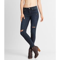 Aeropostale Seriously Stretchy Dark Wash Mid-Rise Jegging ($25) ❤ liked on Polyvore featuring pants, leggings, dark wash, aeropostale leggings, denim leggings, torn leggings, stretch jean leggings and jean leggings