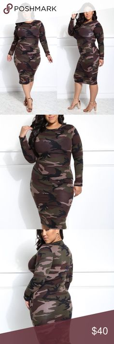 "Dress Bundle to save PRICE FIRM UNLESS BUNDLED ❌❌ NO TRADES ❌❌  plus size camo print midi dress. Features a classic camouflage print fabric, crew neck, long sleeves, and body-hugging fit. Made with a finished midi hem that looks great with ankle booties. - 50% Rayon, 45% Polyester 5% spandex  - Dry Clean Only  - Imported MODEL - Model is wearing size 1x  - Model is 5'8"" / Bust: 44"" / Waist: 34"" / Hip: 45"" Size recommendations: Junior Plus 