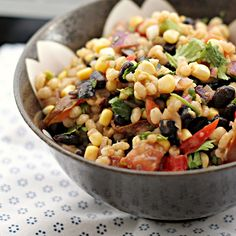 Corn-Avocado Salad with Black Beans and Barley {food matters project} - Joanne Eats Well With Others. Try w quinoa instead Lentil Recipes, Salad Recipes, Vegan Recipes, Barley Recipes, Beans And Barley, Barley Food, Barley Salad, Corn Avocado Salad, Shrimp Avocado