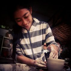 Potter making a at & fine in You can visit the centre every day and we also propose & . Pottery Classes, Social Enterprise, Ceramic Art, Cambodia, Centre, Men Casual, Ceramics, Traditional, Activities
