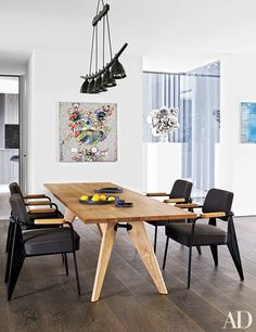 dam images decor 2015 03 brian grazer brian grazer santa monica home 12 breakfast area Santa Monica, Table And Chairs, Side Chairs, Dining Tables, Rooms Ideas, Jean Prouve, Dining Room Design, Dining Rooms, Painted Chairs