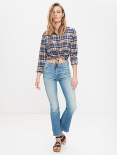 d2a061bf392 Mother Denim Insider Crop Step Fray-Faded Army
