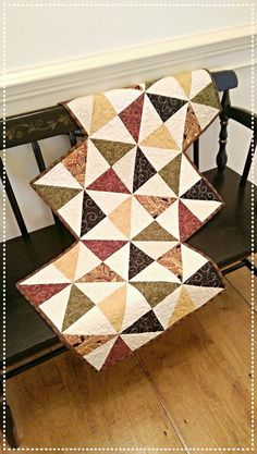 Summer Table Runner Quilt Pattern PDF Primitive Scrappy Fat Quarter Charm Wall…