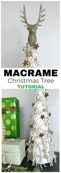 Check out this darling Macrame Christmas Tree tutorial. This creative DIY sparkles! via @tinselbox_