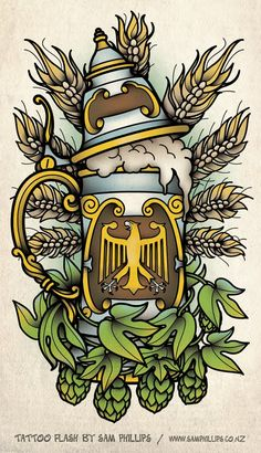 Sam Phillips: German Beer Stein Tattoo Not a fan of the stein, but I dig the hops and wheat detail Body Art Tattoos, Tattoo Drawings, Germany Tattoo, Sam Phillips, German Beer Steins, Beer Art, Beer Festival, Flash Art, Grafik Design