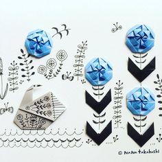 暑い スイースイートリさんはエエなー。 It's hot. A swan is nice. #origami #illustration #papercraft #paperflower #swan #おりがみ #折り紙 #イラストレーション #ペーパークラフト #新しいお花 #考えた #あやめ #トリさん #見返りトリ (Ikoma, Nara)