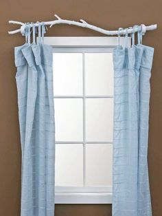 Incorporate elements of nature, such as these DIY branch curtain rods, to add interest to a dull room. Incorporate elements of nature, such as these DIY branch curtain rods, to… Homemade Curtain Rods, Homemade Curtains, Diy Curtains, Blue Curtains, Window Curtains, Nursery Curtains, Rustic Curtains, Layered Curtains, Short Curtains