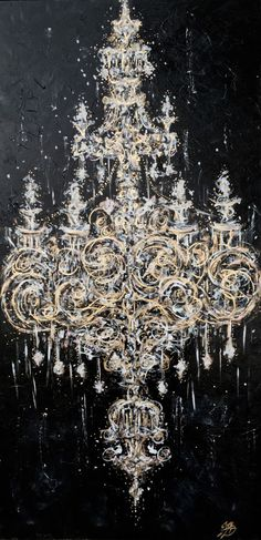 """Midnight Chandelier"" Painting by ZsaZsa Bellagio Claude Monet, Arabesque, Paintings Tumblr, Artwork Paintings, Painting Art, Light Painting, Illustrations, Illustration Art, Chandelier Art"