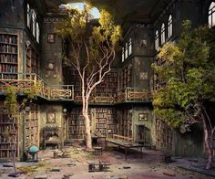 I would LOVE to have real trees inside the library...if only the roots wouldn't go through everything :(