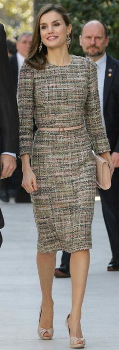 Queen Letizia- #green #tweed dress.