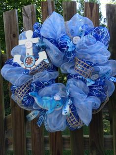 It's a Boy deco mesh wreath nautical theme by ShellysChicDesigns