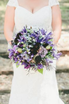 Purple bouquet: http://www.stylemepretty.com/2014/10/29/vintage-chic-winery-wedding-with-pops-of-purple/ | Photography: Onelove - http://www.onelove-photo.com/