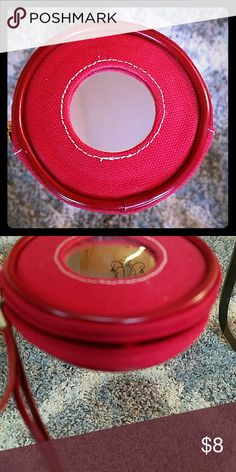Mirror Zip Red Coin Purse, Lipstick with strap Grab and Go! Round mirror stitched to canvas, these coin purse and/or lipstick holder has a wrist strap, perfect for grab and go! Estee Lauder Bags Cosmetic Bags & Cases