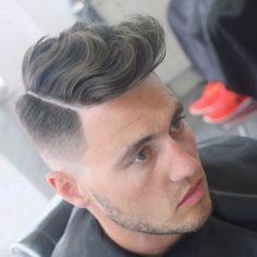 Wavy Comb Over with Hard Part