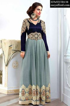 Today's Price Rs. 3357/- For Buy Call or Whatsapp 08968017642, 07837409851 or Click the below link http://easyafford.com/anarkali-suits/1349-suzane-georgette-grey-blue-anarkali-suit.html