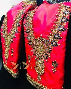 Embroidery work blouses . . . . . . . . #southindianfashion #embroidery #bridesofindia #bridesofbangalore… Wedding Saree Blouse Designs, Pattu Saree Blouse Designs, Wedding Blouses, Zardosi Work Blouse, Maggam Work Designs, Embroidery Blouses, Aari Embroidery, Maggam Works, Saree Gown
