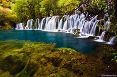 Arrow Bamboo Lake Waterfall...  Jiuzhai Valley, Sichuan, China.