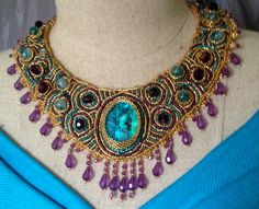 """Beaded Necklace, """"Royal Peacock"""", Purple, Turquoise,Gold, Seed Beads,Paua Shell Focal, ,Amethyst Crystals,Purple Acrylic Fringe,"""