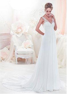 Elegant Polka Dot Tulle & Chiffon V-neck Neckline A-Line Wedding Dresses With Embroidery & Beadings