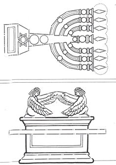 Ark of Covenant and lampstand from the Tabernacle and Temple