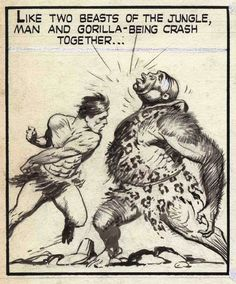 Before Frank Frazetta was doing Conan paintings for paper back book covers he was busy creating stunning comic book art. Comic Book Heroes, Comic Books Art, Comic Art, Frank Frazetta, Fantasy Illustration, People Art, Tarzan, Paperback Books, Funny Comics