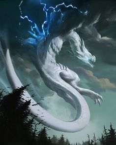 Air Dragon that reminds me of Dialga. It's definitely a dragon fighting for something. Storm cloud wings, too? Mythical Creatures Art, Mythological Creatures, Magical Creatures, Dark Fantasy Art, Fantasy Artwork, Cool Dragons, Dragon Artwork, Dragon Pictures, White Dragon
