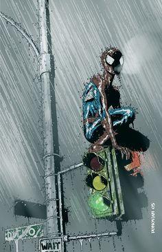 "Spiderman : title of painting is 'Rain"" by ~Derec Donovan Amazing Spiderman, All Spiderman, Spiderman Kunst, Comics Anime, Marvel Dc Comics, Comic Books Art, Comic Art, Book Art, Spectacular Spider Man"