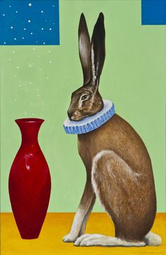 Risto Suomi - Jänis (Hare) [oil on canvas, Post Impressionism, Hare, Finland, Oil On Canvas, Cool Art, Dinosaur Stuffed Animal, Animals, Stone, Animales