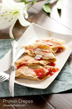 crepes with a secret ingredient that gives you extra protein and it's not the eggs... ohweetbasil.com