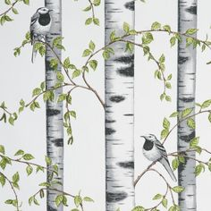 Scandinavian fabric Birds Cotton fabric Arvidssons W: 150 cm - by the metre Metal Room Divider, Small Room Divider, Room Divider Bookcase, Bamboo Room Divider, Living Room Divider, Room Divider Walls, Diy Room Divider, Divider Cabinet, Fabric Room Dividers