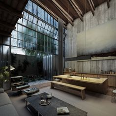 These renderings by visualisation studio VER depict a board-marked concrete house with factory-like glazing, which Mexican architecture studio Lázaro is planning to build in the city of Uruapan.