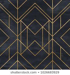 Black & Gold Geometric Art Deco Pattern Seamless Vintage Glamorous Style Clear Acrylic Box by Seamless - 4 X 4 X 3 Arte Art Deco, Motif Art Deco, Estilo Art Deco, Art Deco Design, Geometric Patterns, Geometric Art, Wallpaper Art Deco, Designer Wallpaper, Pattern Wallpaper
