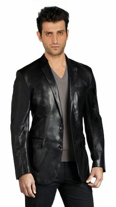 Find ROXA Leathers Men's Genuine Lambskin Real Leather Blazer Two Button Black Coat online. Shop the latest collection of ROXA Leathers Men's Genuine Lambskin Real Leather Blazer Two Button Black Coat from the popular stores - all in one Mens Leather Blazer, Mens Leather Coats, Men's Leather Jacket, Lambskin Leather, Jacket Men, Blazer Jacket, Leather Jackets, Hommes Sexy, Blazers For Men