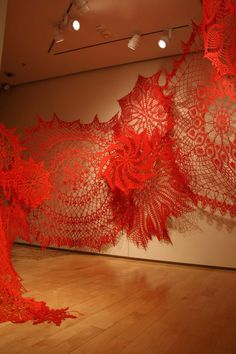 Installation of crocheted forms by Ashley V. Blalock. This is fine art not decorative art, and I've included it on a fine arts board. But, because this is a board that might interest fiber artists, I've saved it here too.
