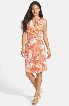 e54fbd10b4a1 Adrianna Papell Print Stretch Cotton Sheath Dress available at  Nordstrom  Adrianna Papell
