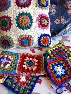 Colourful granny blanket WIP...