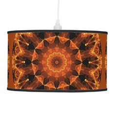 Fire Flower Mandala, Abstract Amber Flame Ceiling Lamp