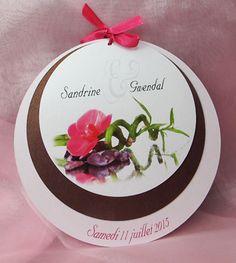 Faire Part 3 Ronds Orchidee Blanche Bambou Pour Votre Mariage