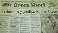 Thee Green sheet from the Milwaukee Journal. Gone but not forgotten Milwaukee Road, Milwaukee Wisconsin, Romper Room, Old Trains, Interesting Reads, Do You Remember, Abandoned Castles, Abandoned Mansions, Abandoned Places